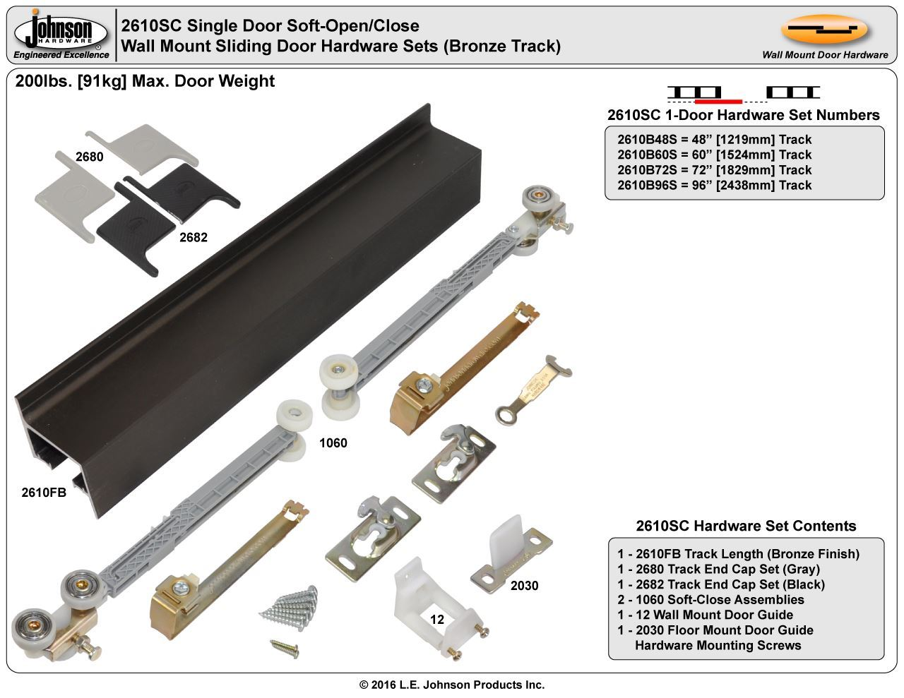 Johnson Hardware 2610sc Soft Close Wall Mount Sliding Door