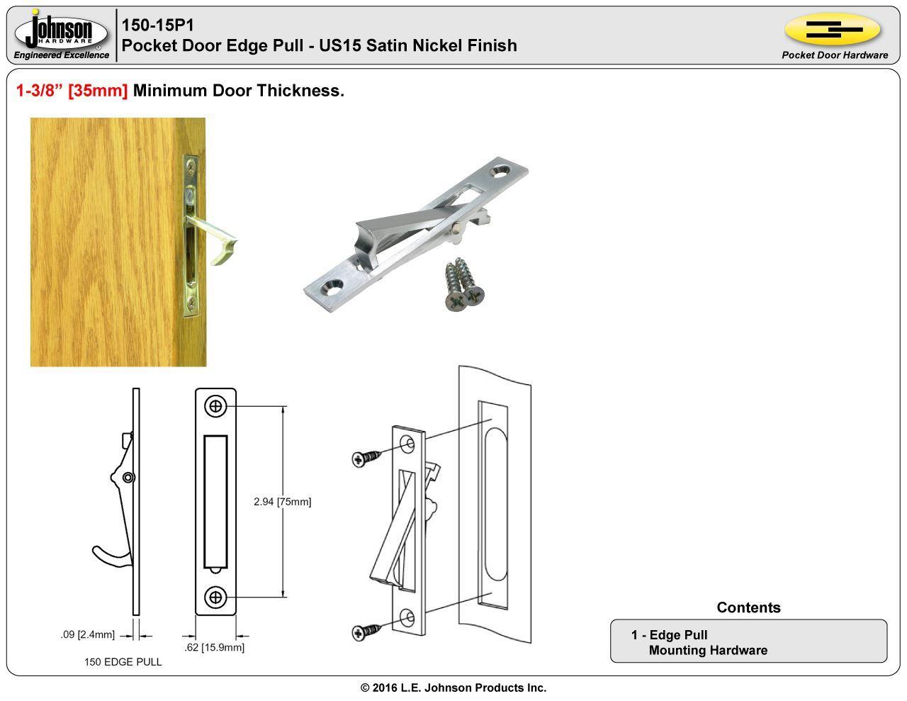 150us15 Us15 Satin Nickel Edge Pull Johnsonhardware Com
