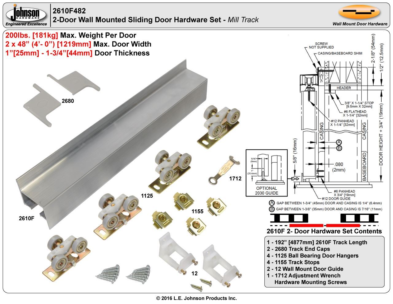Johnson Hardware 2610f Wall Mount Sliding Door Ball Mill Schematic For Pinterest Picture Of 48 2 Set Bearing Wheels