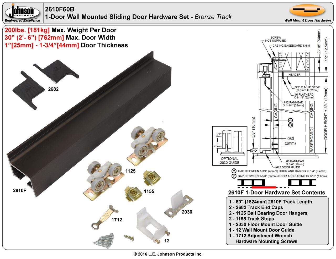 Johnson Hardware 2610f Wall Mount Sliding Door Hardware