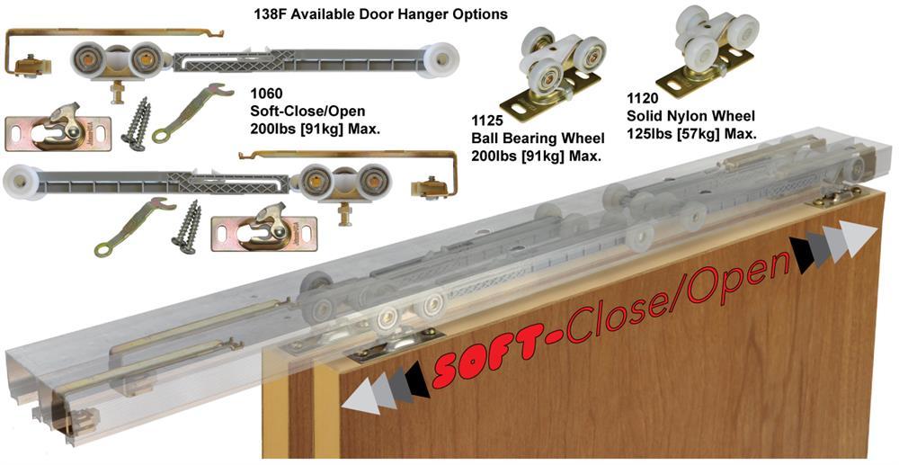 72 Inch - 2 Door System Johnson Hardware 138F Series Sliding Bypass Door Hardware