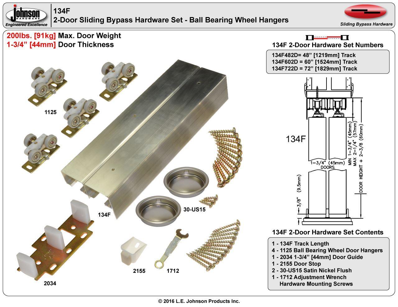 60 2 Door System 134F Sliding Bypass Door Hardware