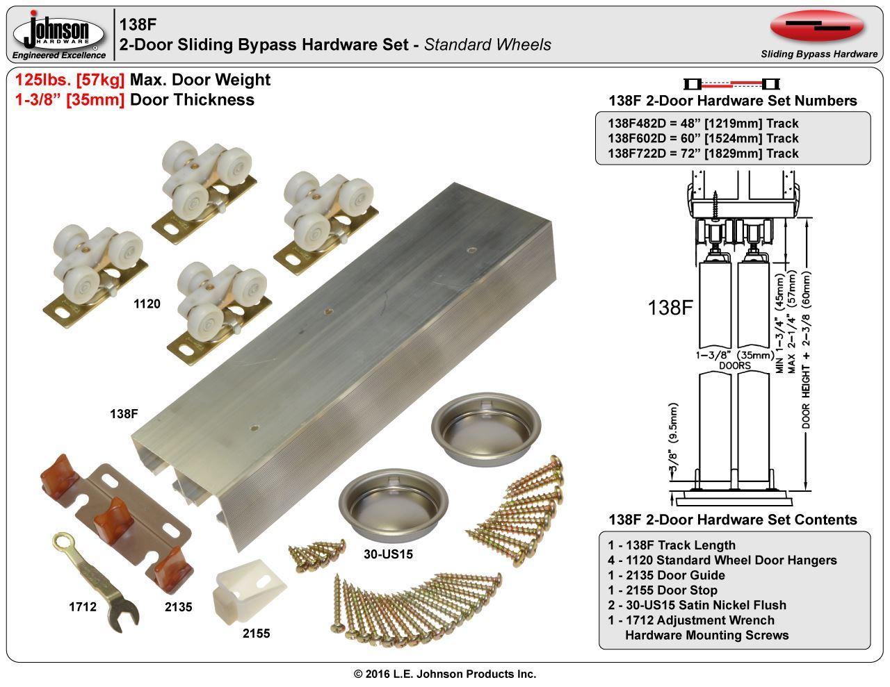 Johnson Hardware 138F Sliding Bypass Door Hardware
