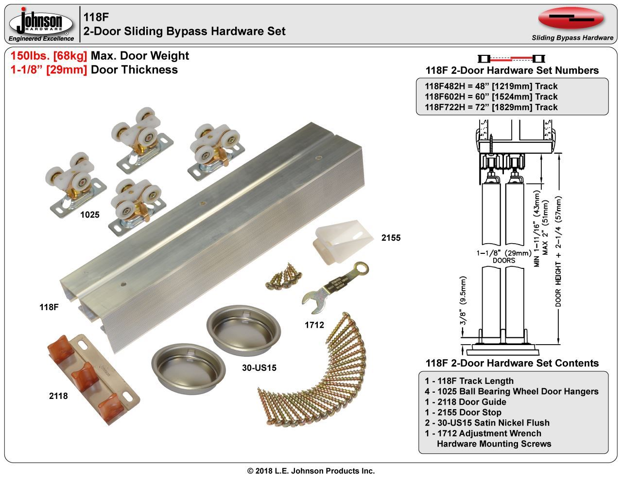 Door 2 Series 1 Bypass Track and Hardware 60 inch